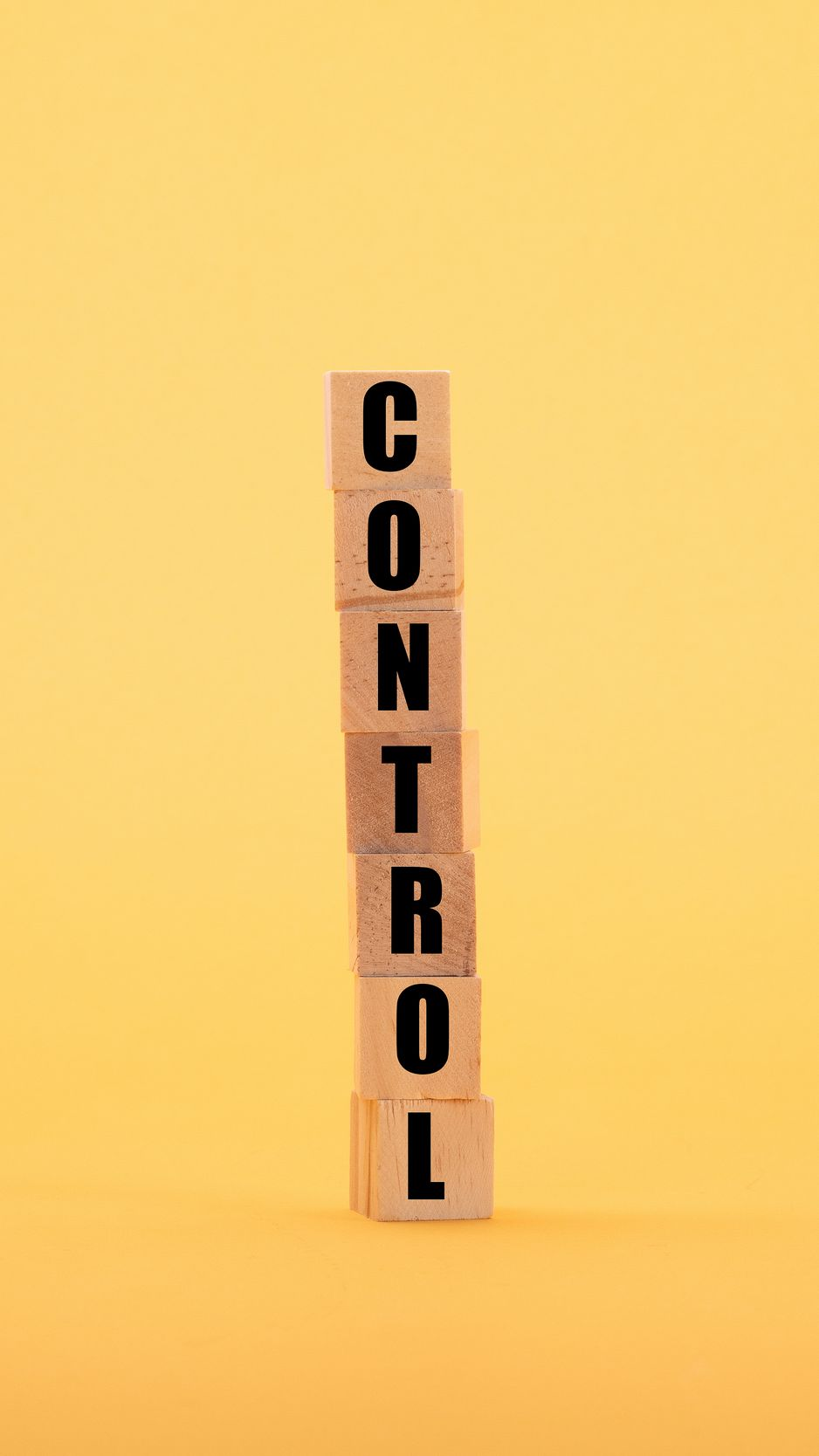 938x1668 Wallpaper control, word, cubes, yellow