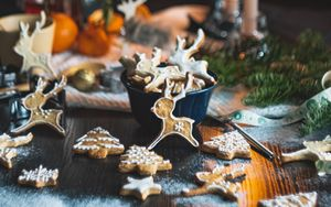 Preview wallpaper cookies, candles, christmas, new year, holiday