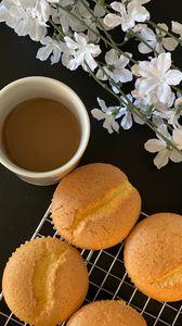 Preview wallpaper cookies, coffee, cup, flowers