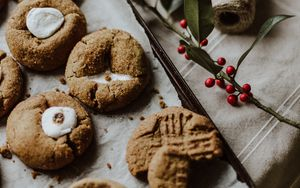 Preview wallpaper cookies, dessert, pastries, branch, berries