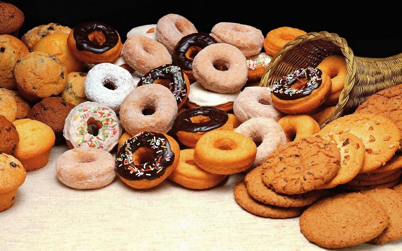 1280x800 Wallpaper cookies, donuts, batch, allsorts, variety