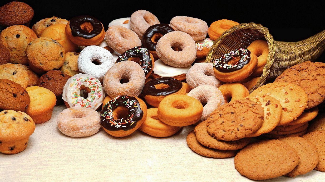 1366x768 Wallpaper cookies, donuts, batch, allsorts, variety