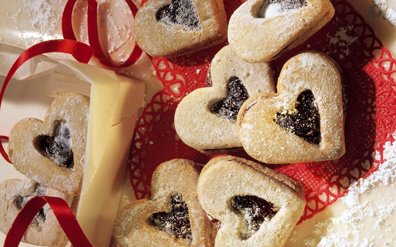 1280x800 Wallpaper cookies, hearts, cakes, sprinkles