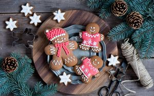 Preview wallpaper cookies, men, new year, twigs, pine cones
