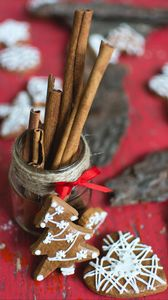 Preview wallpaper cookies, new year, christmas, christmas tree, heart, cinnamon