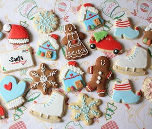 Preview wallpaper cookies, new year, christmas, batch, figures, patterns