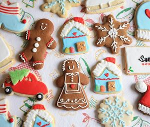 Preview wallpaper cookies, new year, christmas, batch, figures, patterns, cloth