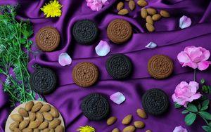 Preview wallpaper cookies, petals, nuts, flowers, dessert
