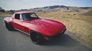 Preview wallpaper corvette, c2, restomod, red, side view