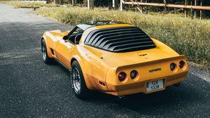 Preview wallpaper corvette, car, sports car, yellow, rear view