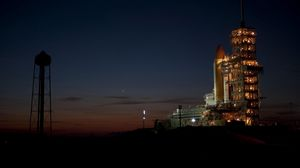 Preview wallpaper cosmodrome, launch pad, night, rocket