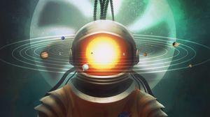 Preview wallpaper cosmonaut, space, art, solar system, hourglass, surrealism