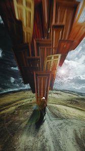 Preview wallpaper cosmonaut, spacesuit, art, doors, surrealism