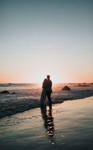 Preview wallpaper couple, beach, sunset, hugs, love