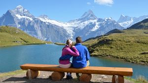 Preview wallpaper couple, bench, mountain, lake, hug, date, romance