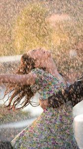 Preview wallpaper couple, dance, happiness, rain, wet, love