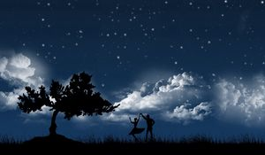 Preview wallpaper couple, dance, sky, night, tree, silhouettes