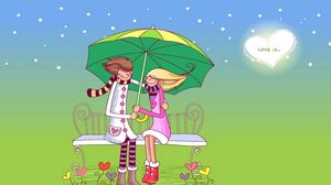 Preview wallpaper couple, date, bench, umbrella
