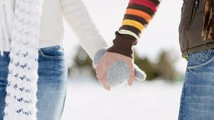 Preview wallpaper couple, friendship, shaking hands, mittens, winter