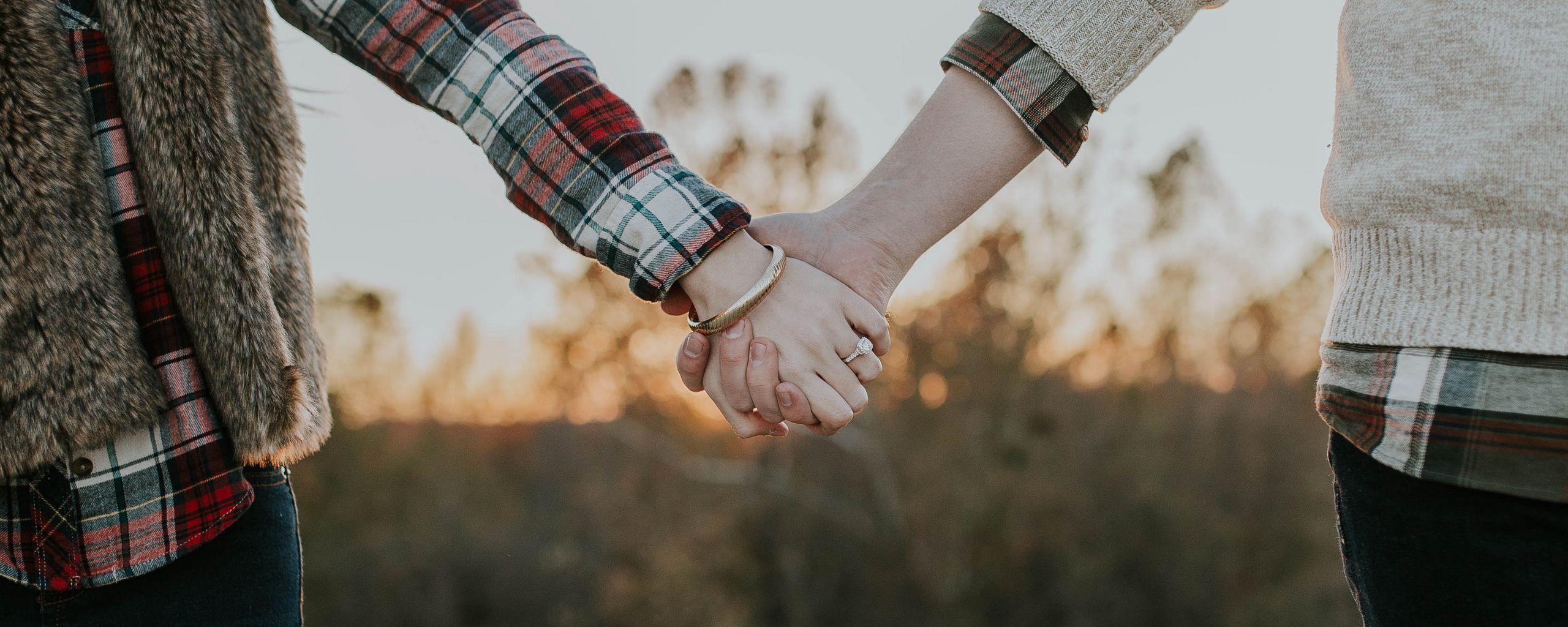 2560x1024 Wallpaper couple, hands, tenderness