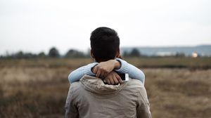 Preview wallpaper couple, hugs, hands, back