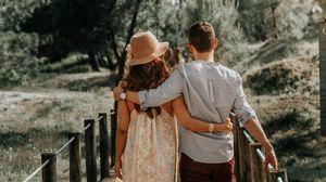Preview wallpaper couple, hugs, love, romance, bridge
