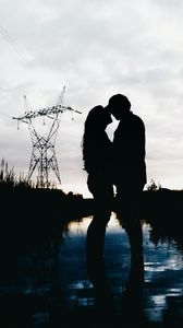 Preview wallpaper couple, hugs, love, romance, dark