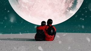 Preview wallpaper couple, hugs, moon, snow, space