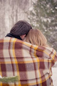 Preview wallpaper couple, hugs, plaid, love, snow, winter