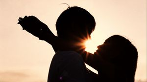 Preview wallpaper couple, hugs, silhouettes, love, dark