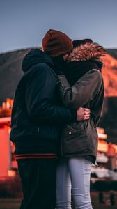 Preview wallpaper couple, kiss, love, hugs