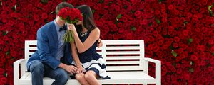 Preview wallpaper couple, kiss, love, roses, flowers