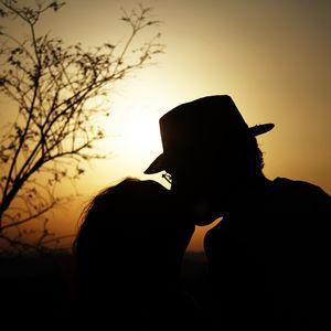 Preview wallpaper couple, kiss, love, dark, sunset