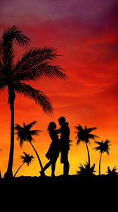 Preview wallpaper couple, love, palms, sunset