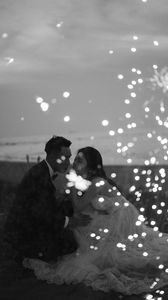 Preview wallpaper couple, love, wedding, sparks, black and white