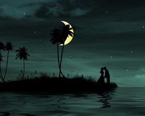 Preview wallpaper couple, moon, island, palm, sea