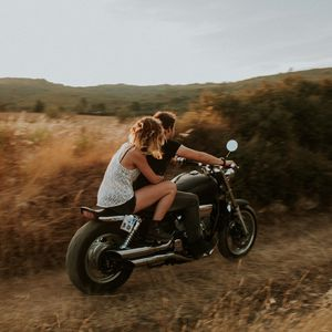 Preview wallpaper couple, motorcycle, love, speed