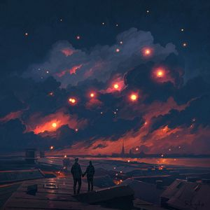 Preview wallpaper couple, night, art, clouds, romance, love