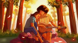 Preview wallpaper couple, romance, love, art, hugs, guitar