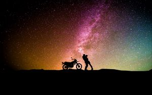 Preview wallpaper couple, silhouettes, hugs, starry sky, love, motorcycle