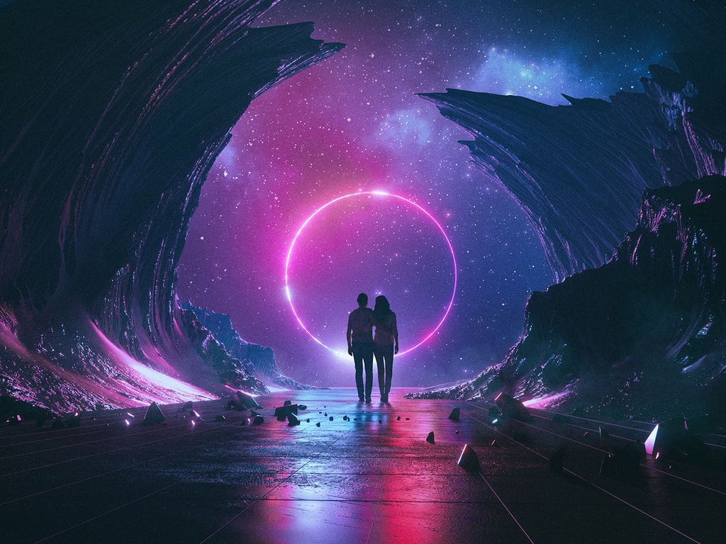 1024x768 Wallpaper couple, starry sky, art, space, hugs