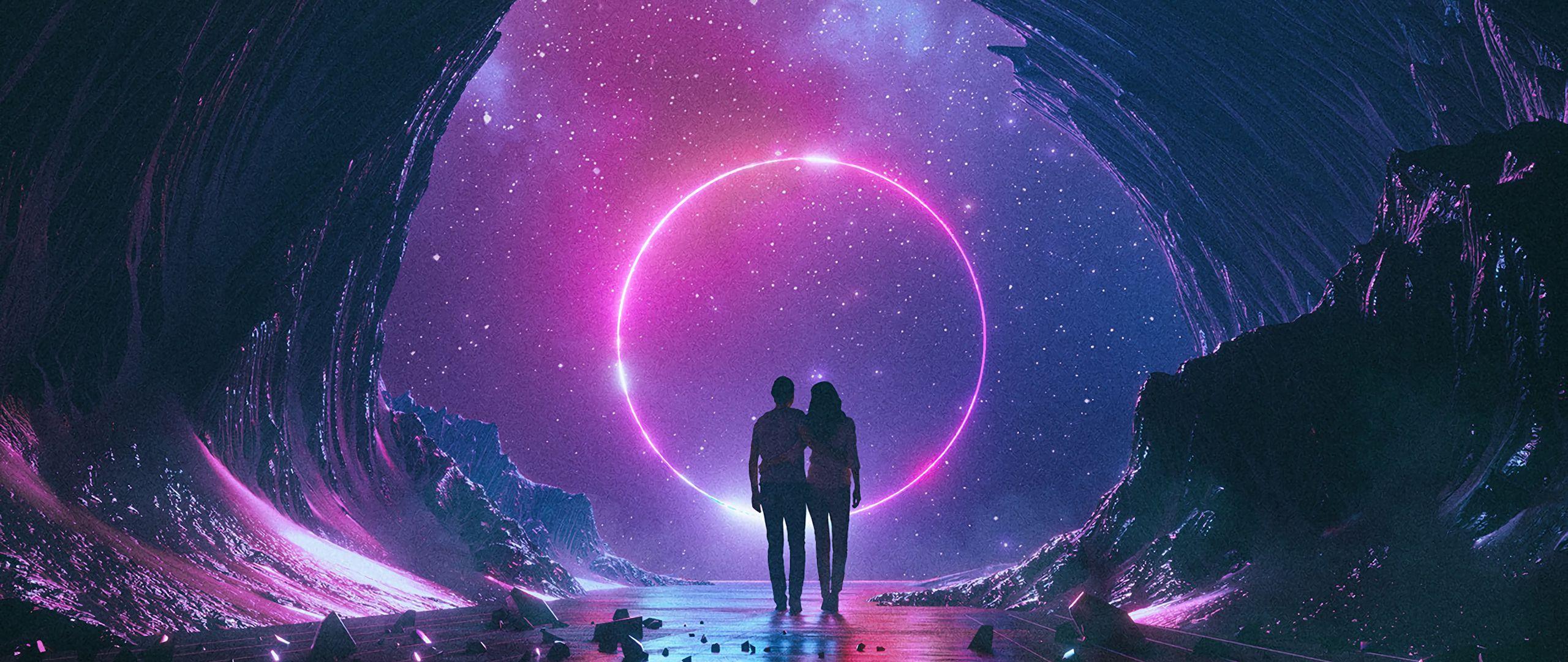 2560x1080 Wallpaper couple, starry sky, art, space, hugs