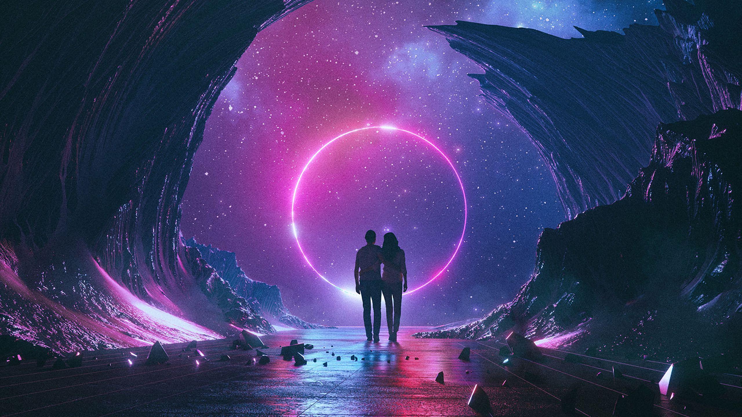 2560x1440 Wallpaper couple, starry sky, art, space, hugs
