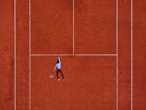 Preview wallpaper court, tennis, sportsman, marking, lines