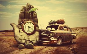 Preview wallpaper creative, hand, surrealism, car, clock, pineapple, cat