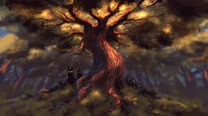 Preview wallpaper creatures, fabulous, forest, tree, dark, eyes