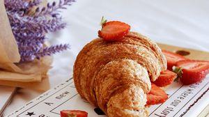 Preview wallpaper croissant, berries, strawberries, breakfast, flowers