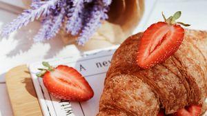 Preview wallpaper croissant, berries, strawberries, flowers, breakfast