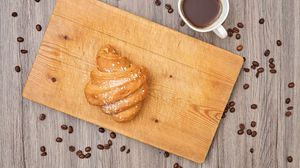 Preview wallpaper croissant, pastries, board, coffee, beans, breakfast, dessert