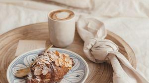 Preview wallpaper croissant, pastries, coffee, drink, dessert, breakfast